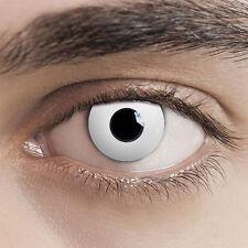 Halloween Kontaktlinsen White Zombie - Weiss - ohne Stärke - Fun Linsen Karneval