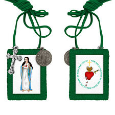 GREEN SCAPULAR IN COLOR, benedictine or saint benedict medal, and cross