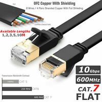 ETHERNET NETWORK RJ45 CAT7 SSTP 10 GBPS PC MODEM PATCH LEAD FLAT CABLE 1M TO 20M