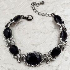 Alloy Black Jet Crystal Rhinestone  Statement Bracelet 08710 Fashion Jewelry