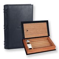Book Design  Leather Cedar Wood Cigar Humidor Travel Case Humidifier Hygrometer