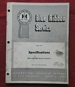 1962 INTERNATIONAL HARVESTER 404 & 504 SERIES TRACTOR SPECIFICATIONS MANUAL