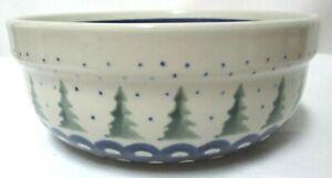 Boleslawiec Polish Pottery Bowl Christmas Pine Tree Blue Star stoneware green