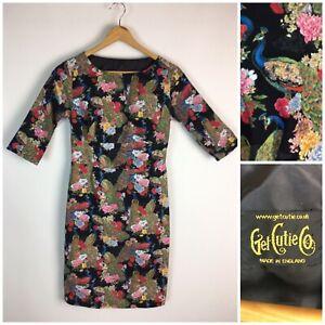 Get Cutie Peacock Print Dress UK 6 8 Sheath High Waist Stretch Black Floral