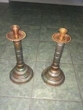 "PAIR VINTAGE TALL COPPER/ TINNED 16"" CANDLESTICK HOLDERS HAND MADE, Art Nouveau"