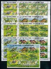 Tadschikistan 9 x KB  MiNr. 50-57  gestempelt Dinosaurier prehistorische Tiere