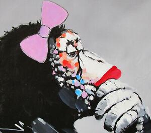 painting art print monkey animal canvas poster GIRL ape street  graffiti thinker