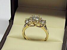 2.51Ct Round Cut Moissanite Diamond Three Stone Engagement Rings 14K Yellow Gold