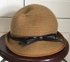 Vintage Everitt Soft Woven Cloche Hat Women's Beige Tan Knit Leather Bow