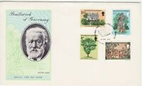 GB Stamps First Day Cover Guernsey Victor Hugo's exile,oak, garden,tapestry 1975