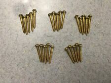 """Lot Of 25 Vintage""""NOS #6-1""""Solid Brass Slotted Round Head Wood Screws"""