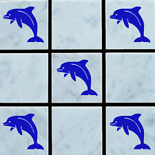 10 x Dolphin Vinyl Wall Tile Stickers Decal Transfers For Bathroom/Kitchen Tiles