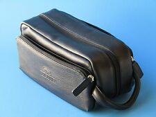 Black Cambridge Leather toiletry travel bag shaving dopp kit travel toiletry new