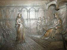 Antique Victorian Very Detailed Relief Bronze Plaque of Medieval Trial