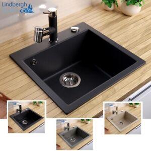 """LINDBERGH® Granit Spüle """"COL"""" + Siphon Einbauspüle Küchenspüle Spülbecken"""