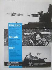 10/1972 PUB AEROSPATIALE MBB ROLAND MILAN HOT ANTI AIRCRAFT TANK ORIGINAL AD