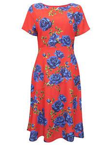 Havren RED Camilla Rose Print Midi Dress - Size 8 to 16