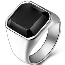 Size 7-14 Stainless Steel Black Onyx Ring Signet Classical Plain Cocktail Biker