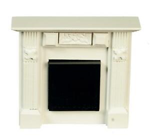Dolls House Small Georgian White Wood Elizabeth Fireplace Miniature 1:12 Scale
