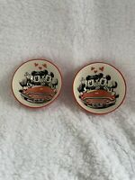 NEW Lot of 2 Disney Mickey and Minnie Mouse Hello Love Tidbit Bowl