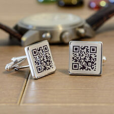Personalised Silver Finish Secret Message QR Code Cufflinks - Mens Gift In Case