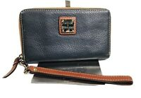 DOONEY AND BOURKE WOMEN'S ZIP AROUND LEATHER WALLET/WRISTLET/GRAY