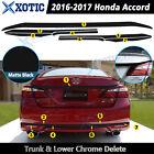 For 2016 2017 Accord Rear Trunk & Low Trim Chrome Delete Blackout Kk Matte Black