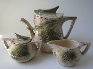 Vintage McCoy Teapot Set 3 Piece Grecian 24K Gold 453 Creamer Sugar w/ Lids