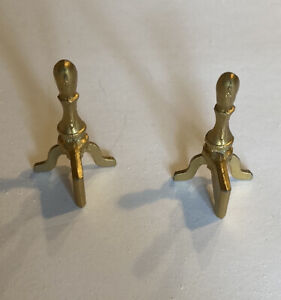 Vintage Dollhouse Miniature Gold Tone Fireplace Andirons with Bar Japan Mini