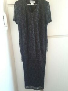 Jesicca Haward, Mother of the Bride/Black-silver long gown,size XL, Made in USA