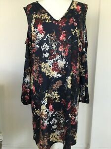 bnwt PINK CLOVE DRESS UK 24 Eur52 TUNIC SHIFT PULL ON COLD SHOULDER FLORAL MULTI