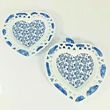 Blue and White Reticulated Pierced Ceramic Heart Shaped Wall Plates Blue Roses