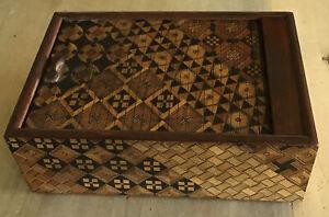 Antique Japanese Yosegi Zaiku Marquetry Wooden Box Roll Top Mosaic Wood Pattern