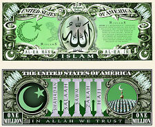 L'ISLAM - BILLET 1 MILLION DOLLAR US! Série Religion Musulman Calligraphie Arabe