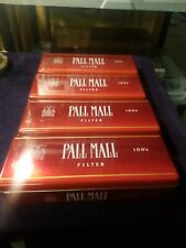 4 PALL MALL 100'S RED Metal Cigarette Tin with Hinged Lid-Mint
