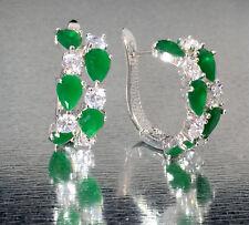 14k White Gold GF Huggie Earrings made w/ Swarovski Emerald Green & Clear Stone