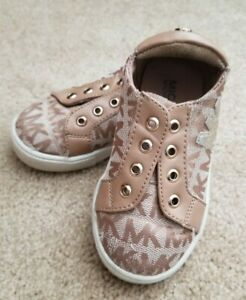MICHAEL KORS Toddler Girls Tan Brown Gold  Signature SNEAKERS Shoes Size 6