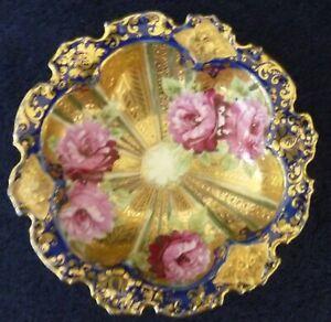 Nippon Dish - Cobalt Gold Chrysanthemums GIlt Japan
