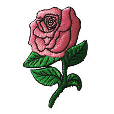 Embroidered Pink Rose Sew or Iron on Patch Biker Patch