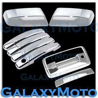 14-15 GMC Sierra Crew Cab Chrome TOP Mirror+4 Door Handle+Tailgate KeyHole Cover