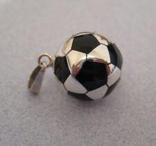 Mexican 925 Silver Taxco BLACK Football SOCCER BALL Pendant Unisex Sport Mom New