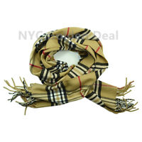 Men's 100% CASHMERE Scarf BEIGE Checked Plaid Design Soft  MADE IN SCOTLAND