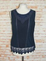 Laura Ashley vest top size 12 pintuck mesh embroidered plain back navy blue