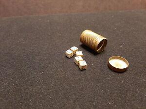 Antique Miniature Bone Dice set of Five in Brass Case Excellent Look!