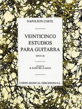 Coste: 25 estudios para Guitarra Guitar Partituras Instrumentales De Trabajo