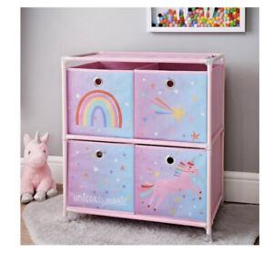 Rainbow Unicorn 4 Drawer Chest Of Drawers  Storage Unit Kids Bedroom Organiser