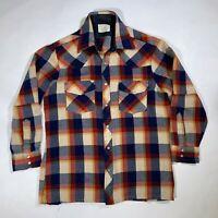 Vintage Sears Flannel Plaid Snap Button Shirt Acrylic Mens Medium