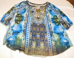 Womens ladies One world Live and Let Live 1/2 sleeve blouse shirt Top Size PM