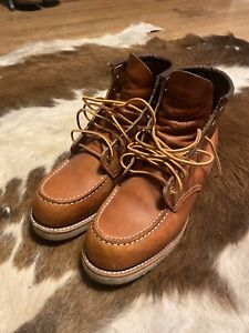 Red Wing Shoes Moc Toe Heritage Boots for Men, Size 9- Brown
