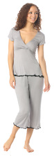 New Small Majamas The Lacey Cropped MJ Maternity Nursing Pajamas Seagrass Gray